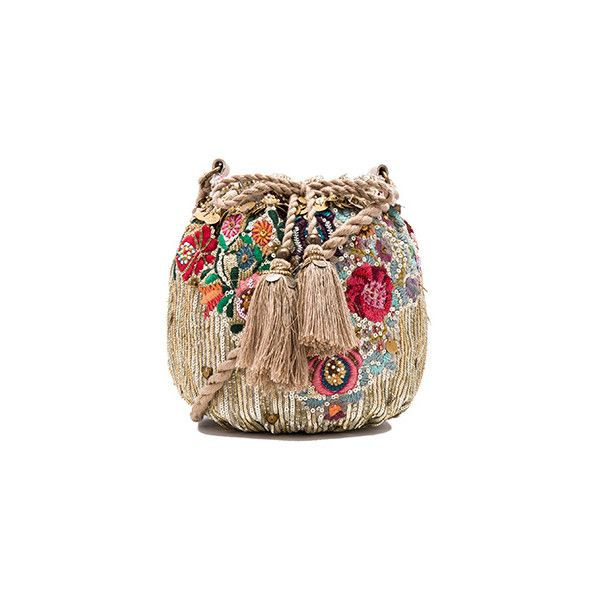 Star Mela Pinki Pouch ($235) ❤ liked on Polyvore featuring bags, handbags, clutches, brown hand bags, drawstring handbag, brown handbags, sequin purse and handbags purses