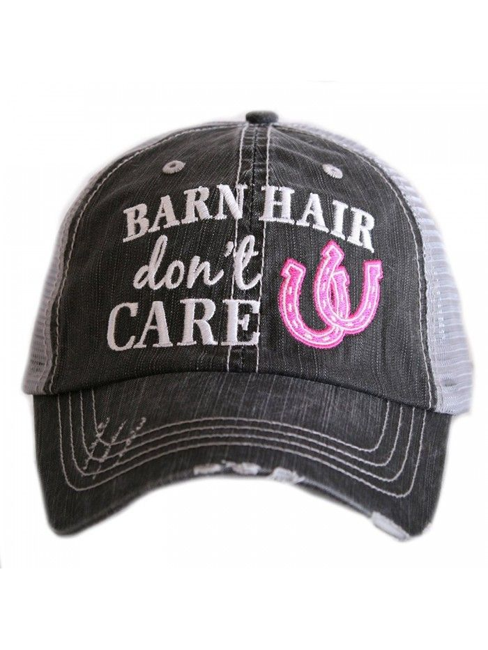 Barn Hair Don't Care Women's Distressed Grey Trucker Hat – Pink – C9183CCO9K2