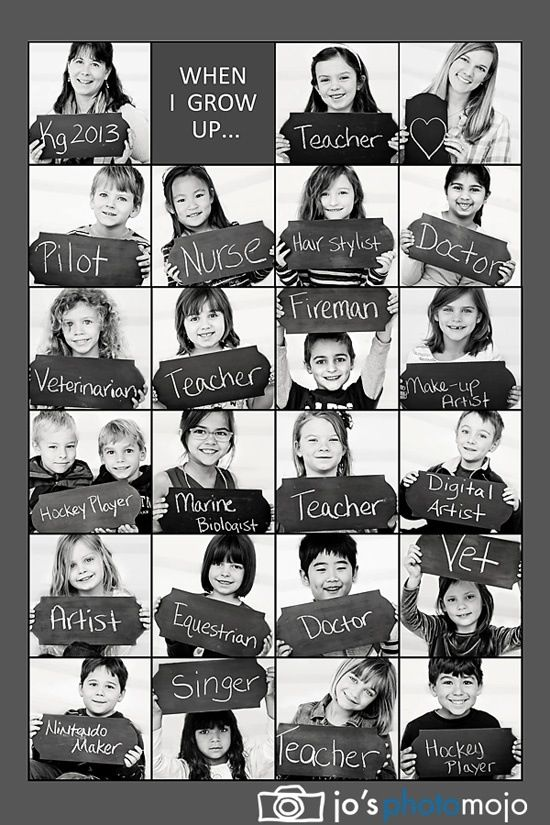 I want to do this At the beginning of each school year.  I will ask Joseph what he wants to be when he grows up and then photograph it. Good idea to put them all together over the years and present to him on his college graduation day.