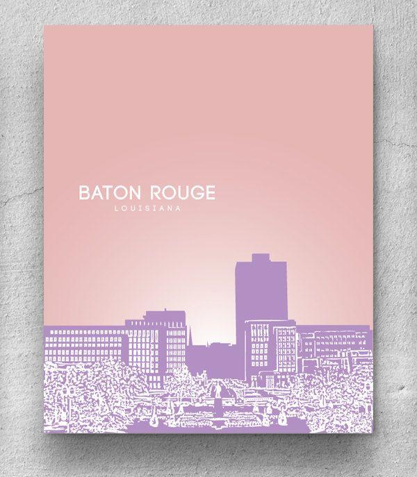 Office Decor Wall Poster / Baton Rouge Louisiana Skyline Poster / Any City or Landmark. $20.00, via Etsy.