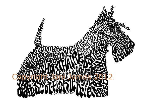 Scottish Terrier Art Print, Word Art Illustration Scottie Dog Art Typography Calligram, Black and White Art Animal Calligram Art Print via Etsy