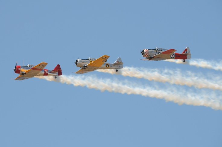 Three of the Southern Knights Harvard formation team during its display at the RAAF Museum Air Pageant 2012. Photograph by Wendy Wilson.