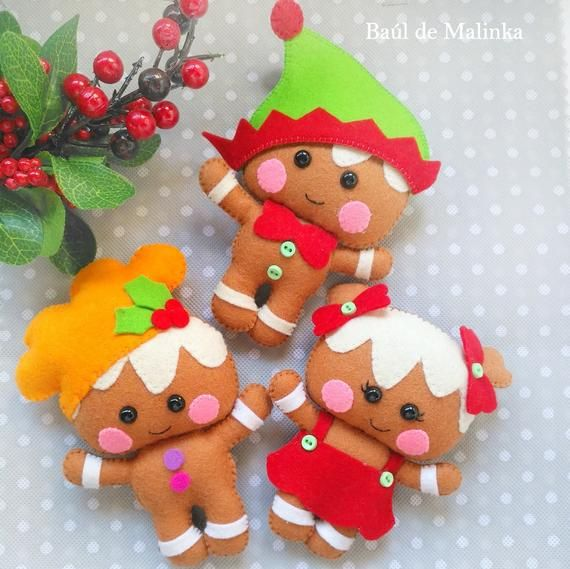 Felt Gingerbread Christmas Ornaments Pdf Pattern Christmas