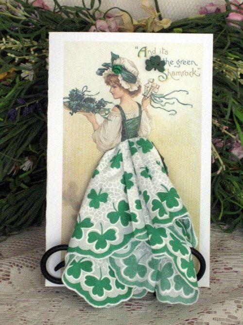 Винтажные открытки с дамами из носовых платков, звездной ночи днем