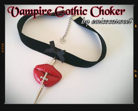 Gothic Vampire Choker Punk  Rockability Kitsch by emicocosweet