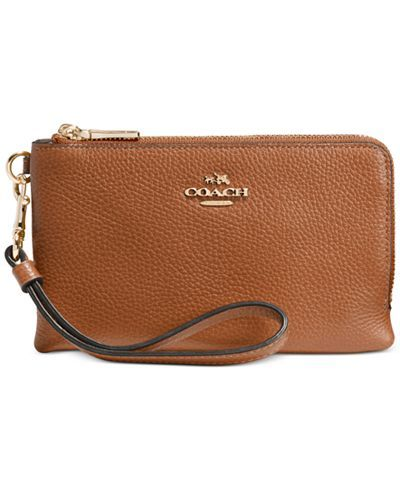 COACH DOUBLE CORNER ZIP IN POLISHED PEBBLE LEATHER - Wallets & Wristlets - Handbags & Accessories - Macy's