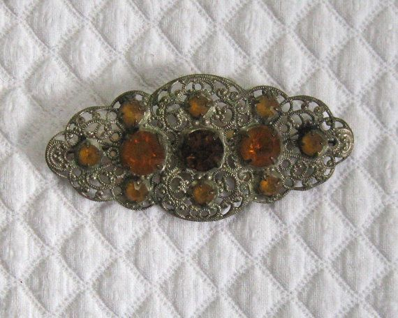 Czech Glass Filigree Brooch . Czech Glass Brooch . amber glass