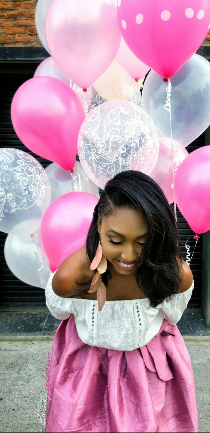 Pink Adult Birthday Balloon Photoshoot............................ Phoenix, Downtown, Industrial, Arizona, Fuchsia, Feather Earrings, African American, Black Girl, Feminine, Heels, Pumps, Clear, Silver, Balloons, Wood, White, City, Urban, Natural Hair, Woman, Women, Girly, Polka dots, Twenties, Bubble Skirt, Bow, Photography, Samsung s8, Adobe Lightroom, Snapseed