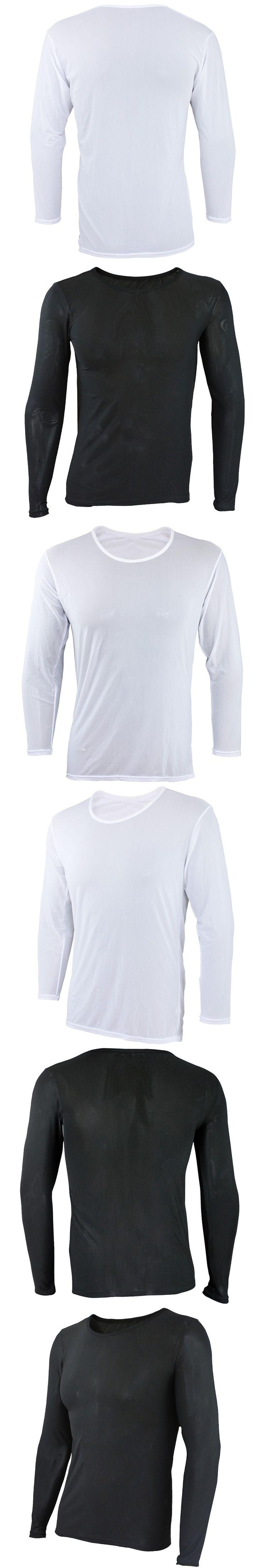iEFiEL Sexy Mens Long Sleeves Mesh Underwear Cloth Full T-shirt Undershirt Nightwear Tops Tees O-Neck Clothing