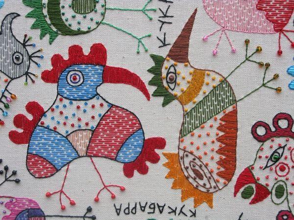Textile work (85x95sm.) Kookaburra by Ivan Semesyuk, via Behance
