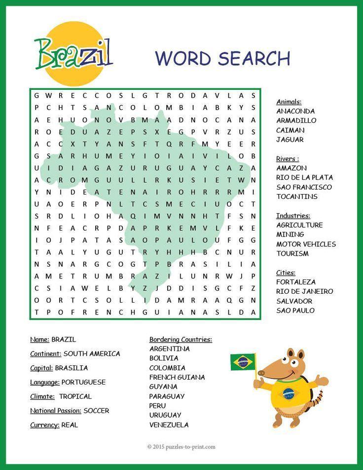 No Prep Brazil Geography Word Search Learn Portuguese Brazil