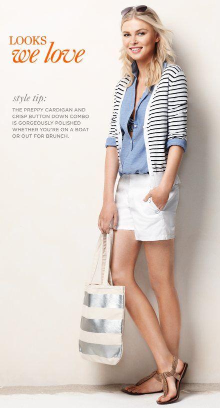 LOFT Chambray Button Front Shirt ($49.50), 3/4 Sleeve Stripe Cardigan ($49.50), Nautical Shorts ($49.50)