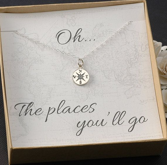 Compass Necklace - Graduation Card, 2014 Graduation Gift, New Job -  Silver or Gold Compass Charm on Etsy, $28.00