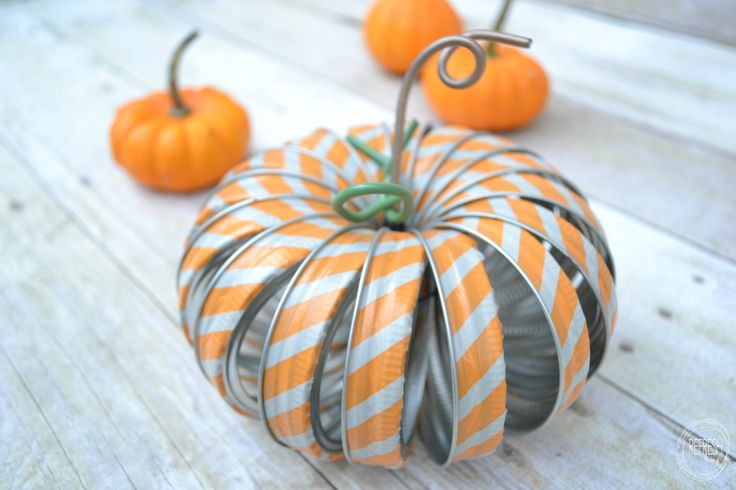 mason jar ring pumpkins with washi tape @jennyleads   : Featured post on Turn It Up Tuesdays.