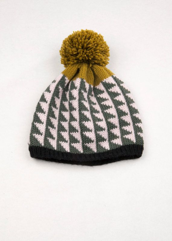 Patterned Pom Pom Beanie  Bias Triangles by WhiteLodgeKnitwear, $80.00