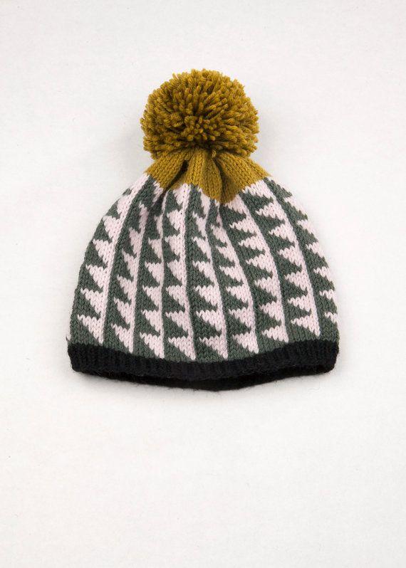 Patterned Pom Pom Beanie Bias Triangles by WhiteLodgeKnitwear, $80.00