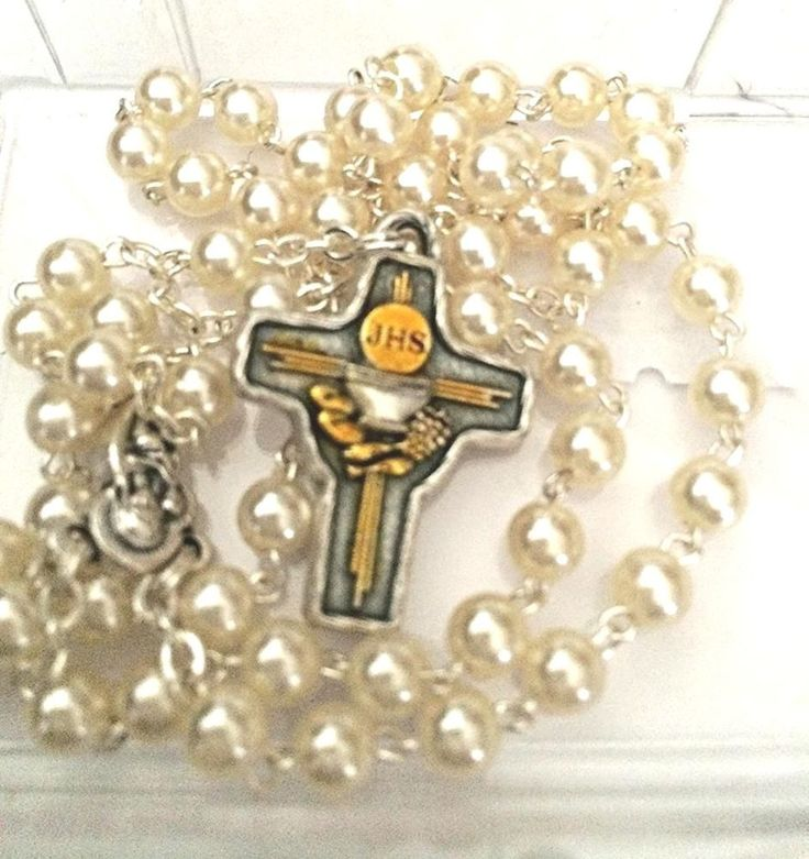Easter gifts 286 pinterest jhs amazing communion rosary with loaves and chalice cross italy easter gift negle Images