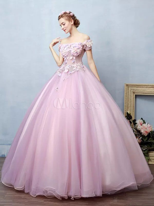 722e109f6 Vestido para quinceañeras Rosa púrpura con escote de hombros caídos con  manga corta con aplicación - Milanoo.com