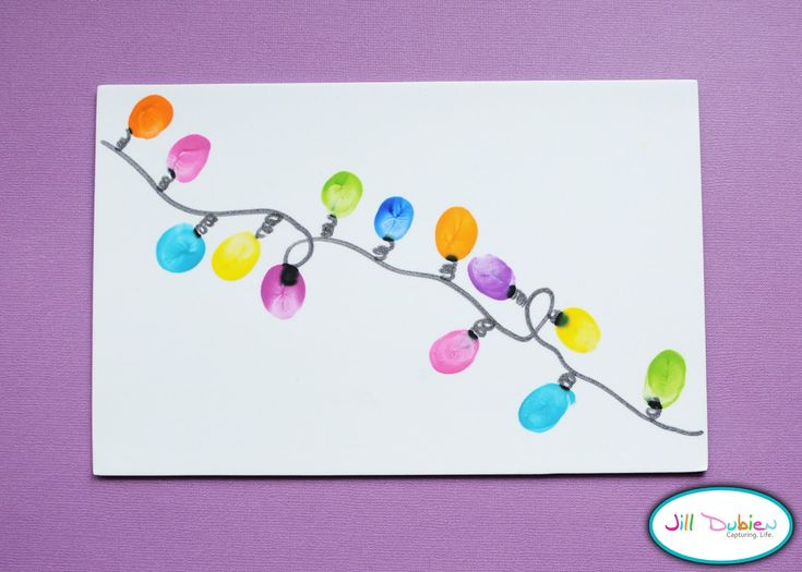Christmas Preschool Craft: Lights Crafts, Christmas Cards, Crafts Ideas, Christmas Crafts, Thumb Prints, Christmas Lights, Kids Crafts, Holidays Cards, Thumbprint Christmas