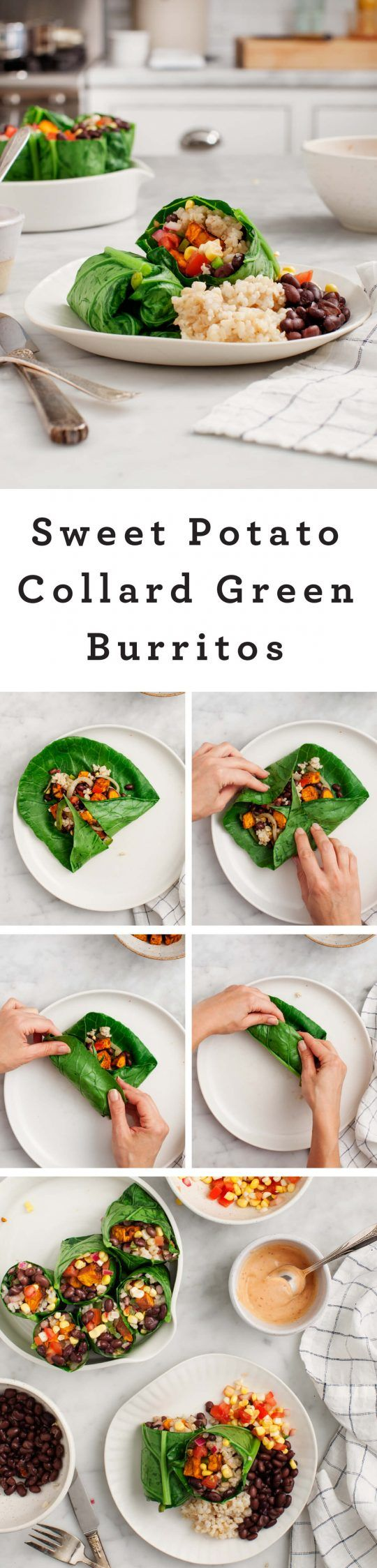 Sweet Potato Collard Green Burritos