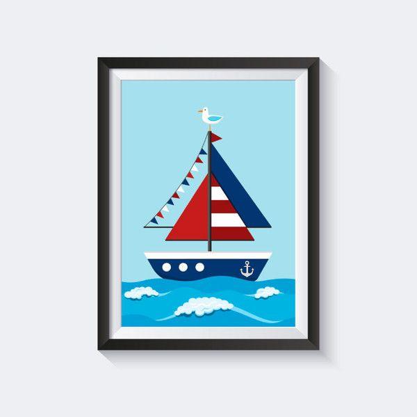 Drucke & Plakate – Kinderbild Schiff, Bild Kinderzimmer, Bild maritim – ein Designerstück von SmoX – Poster Shop bei DaWanda – Motiv: In cooperation …