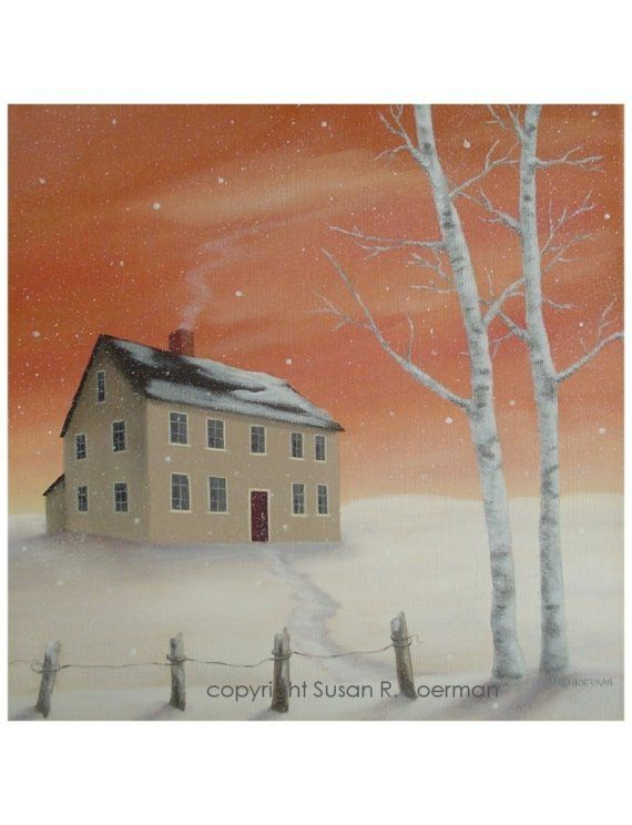 Winter House  8 X 8 Print Of A Tan House In A Snowy by susanville, $10.00