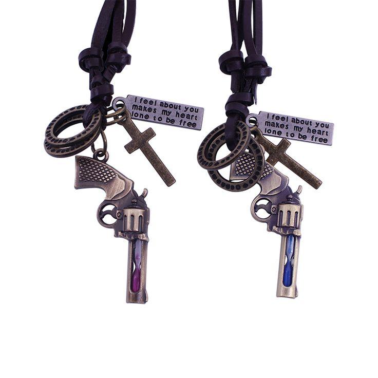 2016 New Gun Hourglass Pendant Necklace With Letter Forever Love For Lovers Cross Pendant Necklace Lover's Gift DIY Bijoux Colar
