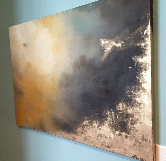 Gold Leaf Gold and Neutral Soft Abstract Painting – «Aerial Storm3″ in 30″ x 40»
