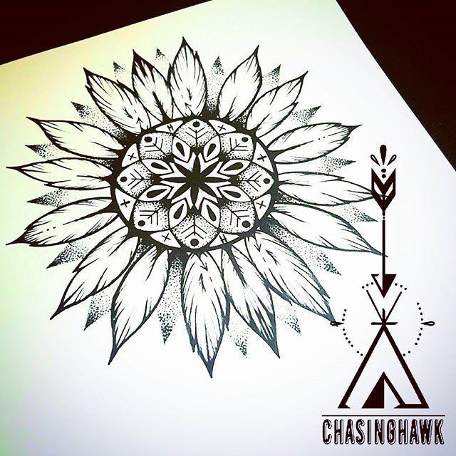 Sunflower Mandala Sketch Tattoo