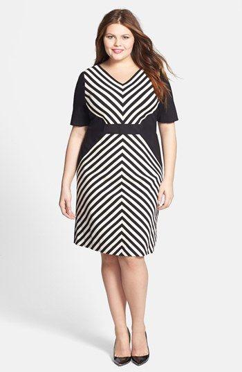 Tahari Mitered Stripe Ponte Sheath Dress (Plus Size) available at #Nordstrom