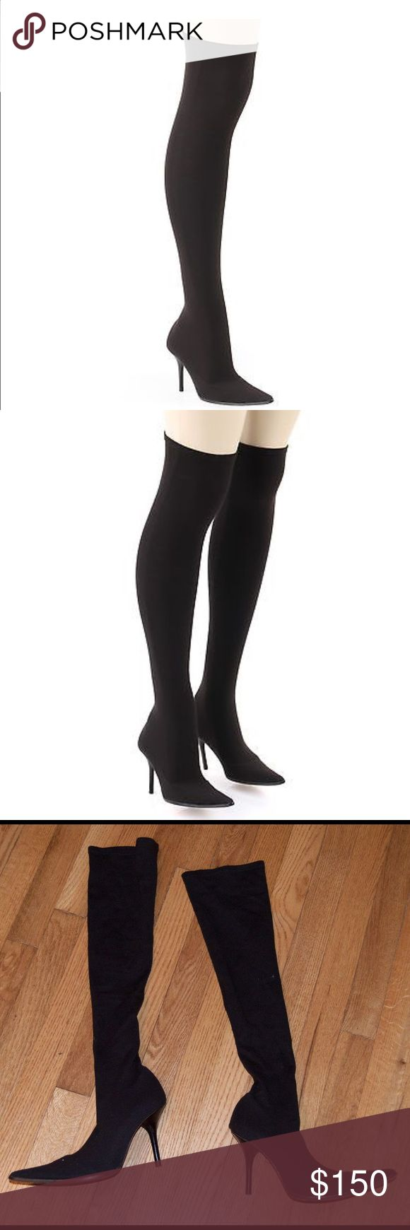 Michael Kors Black Stretch Knee High Boots Michael Kors black stretch knee high boots. Knee high stretch cotton Lycra blend fabric shaft that pula on like socks and fits very close to the leg. Pointed toe. Slim black stacked heel and leather sole. Insole leather. 3 1/2 inch heel. Size 7. No signs of wear. Never worn. Bundle and save. Michael Kors Shoes Heeled Boots