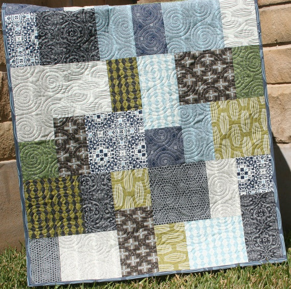 Unique Baby Boy Quilt Curious Nature Earth Tones Quilt
