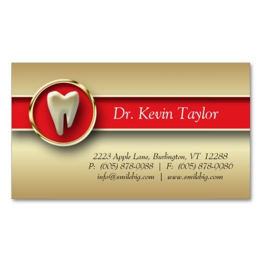 Dental Molar Business Card Gold Metallic Red