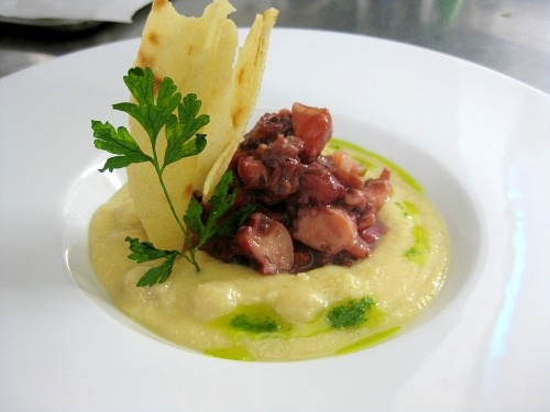 Octopus on a chickpea velouté sauce