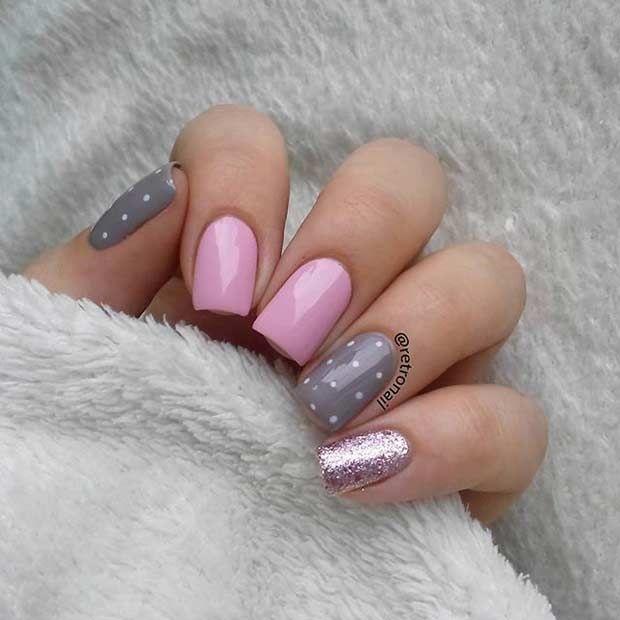 Pretty Pink and Gray Nail Design