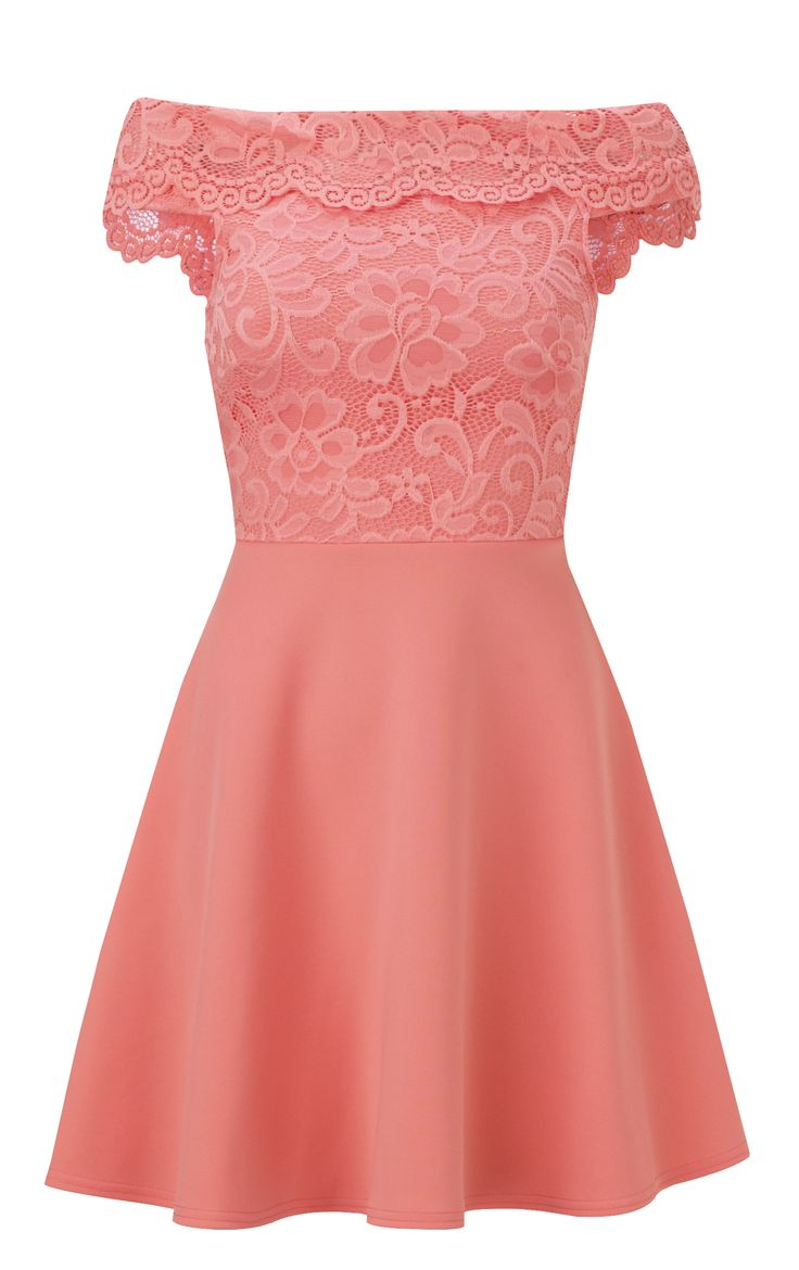 Jessica Wright Josey Coral Lace Bardot Skater Dress £65.00 http://www.sistaglam.co.uk/jessica-wright-dresses/jessica-wright-josey-coral-lace-bardot-skater-dress-1807