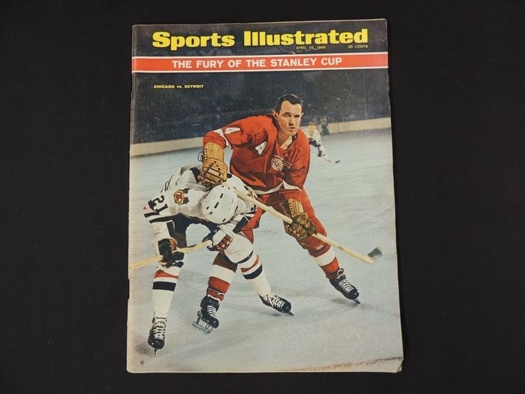 1966 Sports Illustrated Magazine April 25 Stanley Cup Detroit Chicago Hockey WOW