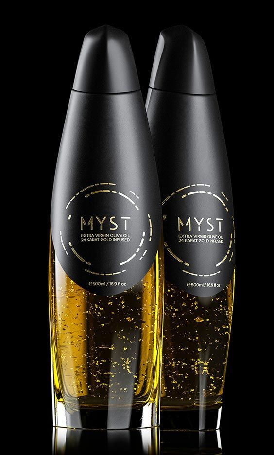 """Ever since the times of Pharaohs in 2000 BC, gold has been considered as food able to win the favor of Gods. According to the ancient alchemist concepts, gold possesses legendary powers which contribute to a long and vital life. Olive oil is often referred to as """"liquid gold."""" So to emphasise the point, MYST added 24 karat edible golden flakes from the finest varieties. Olive oil #design #packaging #luxury"""