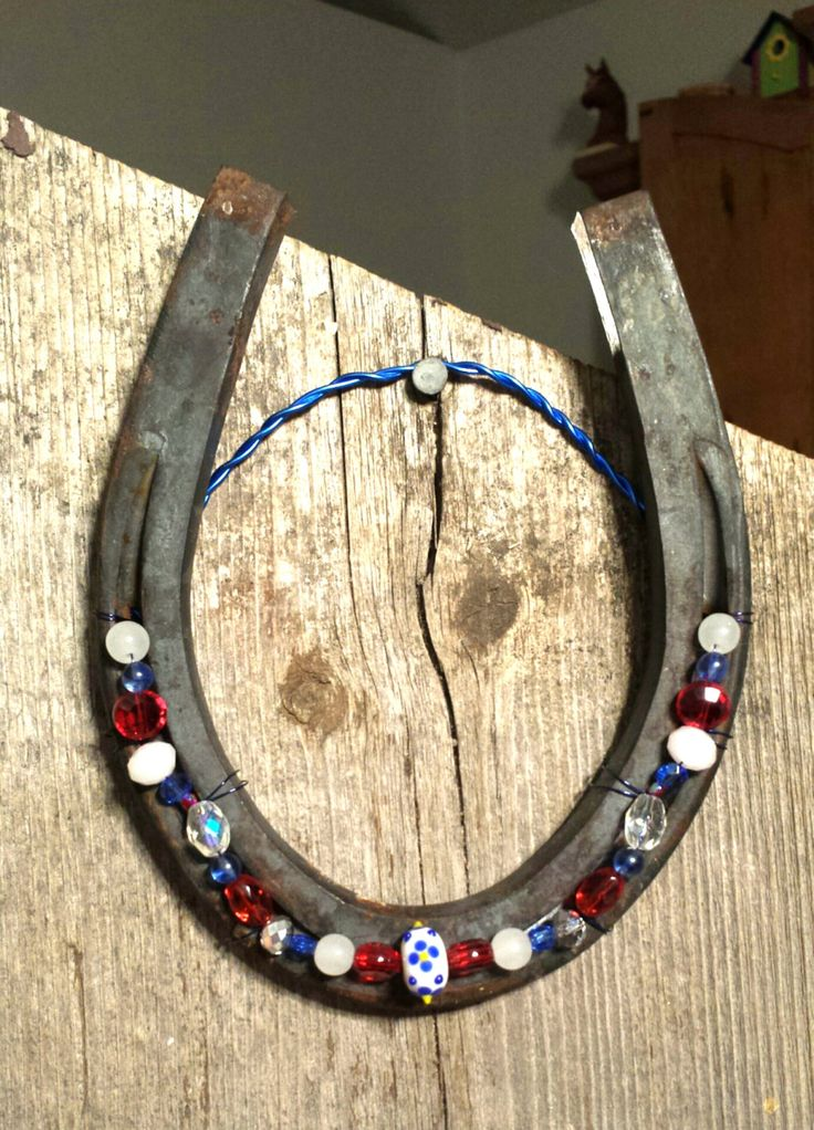 Large Iron Beaded Horseshoe Hanging Lucky Red White Blue USA Beaded Horseshoe Patriotic Beaded Horseshoe Made in Colorado Western Art by FlowerFelicity on Etsy $ 22.99 https://www.etsy.com/listing/261477226/large-iron-beaded-horseshoe-hanging