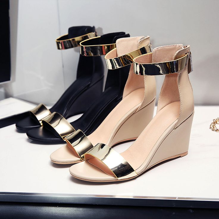 Fashion Women Leather Metal strap Heel Wedges sandals women's cowhide high heeled shoes-in Women's Sandals from Shoes on Aliexpress.com | Alibaba Group