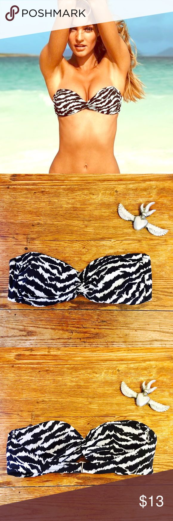 ☀️☀️ Victoria's Secret Zebra Bandeau Bikini Top ☀️☀️ gentle wear, good pre-loved condition. a few loose strings, paint wear to metal clasp. very light pilling and color fading. removable pads, silver hooks for halter strap (strap not included). super cute. Victoria's Secret Swim Bikinis