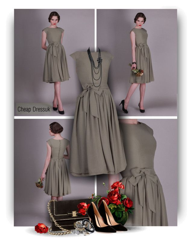 """""""Knee-Length Full Back Cap Sleeve Buttons Bridesmaid Dress"""" by christiana40 ❤ liked on Polyvore featuring Salvatore Ferragamo, Gianvito Rossi and Chanel"""