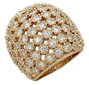 Go for big time glamour and sparkle and give this domed cubic zirconia ring from the Rivka Friedman Jewellery Collection.