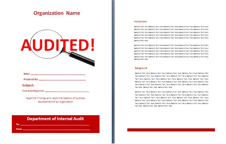 Unique Sample of Audit Report Template for Cover with Blank Filled Information and Magnifying Glass Illustration a part of  under Audit Form Template