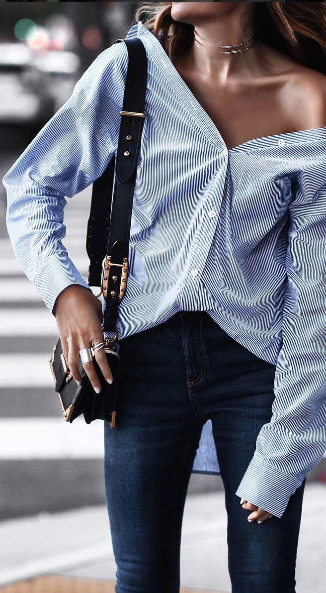<<blue stripe blouse>>