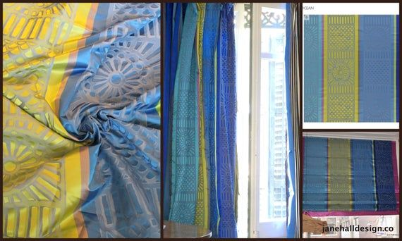 "Designers Guild Fabric, ""Kasida-Ocean"" Cobalt Blue, Lime Stripe Silk Curtain Fabric, From Jane Hall Design"