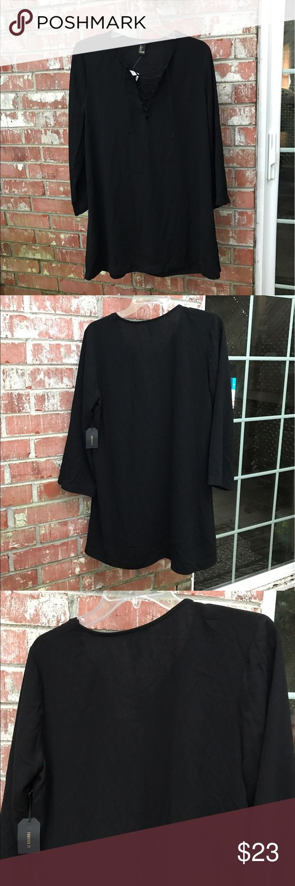 ⚡️F21 Black Tunic Dress Lace Up/Tie Up V-neck. A slight bell sleeve. Cute but runs a little small like a PL or oversized M. Forever 21 Dresses Long Sleeve