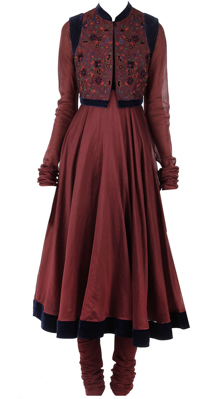 Burgandy anarkali with embroidered waistcoat by BIBA by ROHIT BAL. Shop now at perniaspopupshop.com