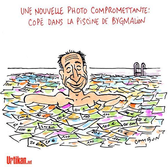 Affaire Bygmalion : Copé mouillé jusqu'au cou - Dessin du jour - Urtikan.net - A l'UMP, tout baigne... #satire #politique