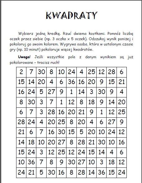 Rewalidacja - by uczeń miał osiągnięcia: Matematyczna gra do ćwiczenia mnożenia